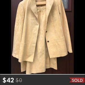 Vintage Ultra Suede Jacket Skirt Tan Womens Size L
